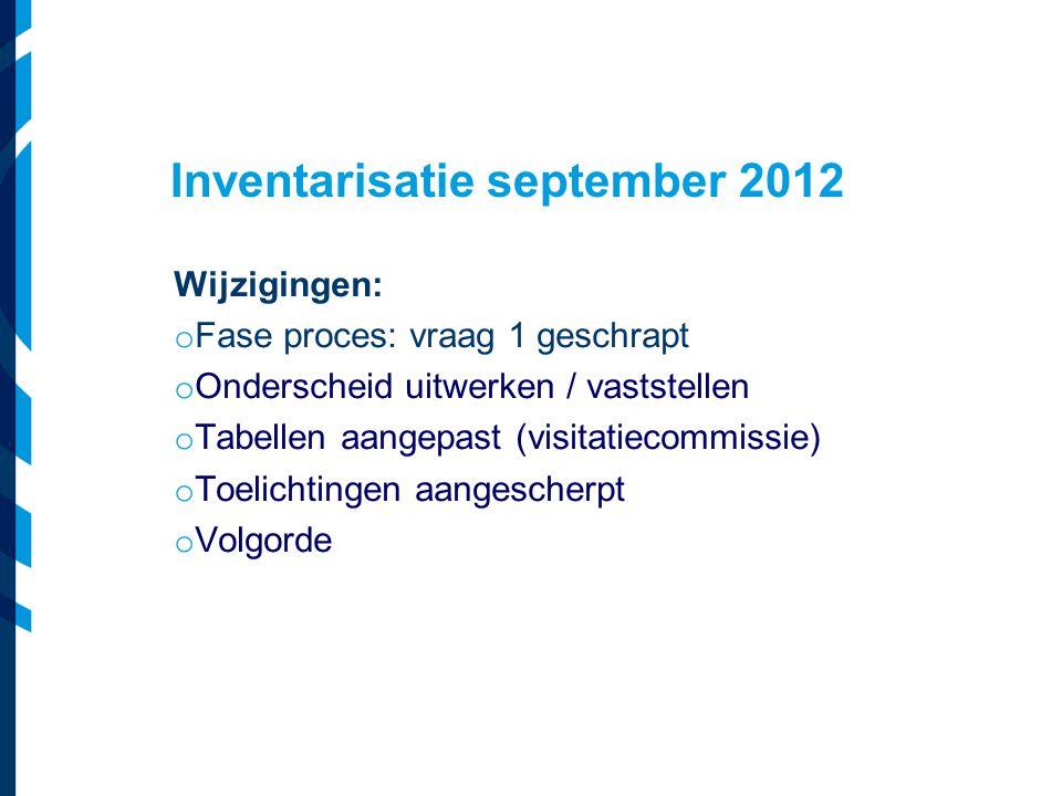 Inventarisatie september 2012 Wijzigingen: o Fase proces: vraag 1 geschrapt o Onderscheid uitwerken / vaststellen o Tabellen aangepast (visitatiecommi