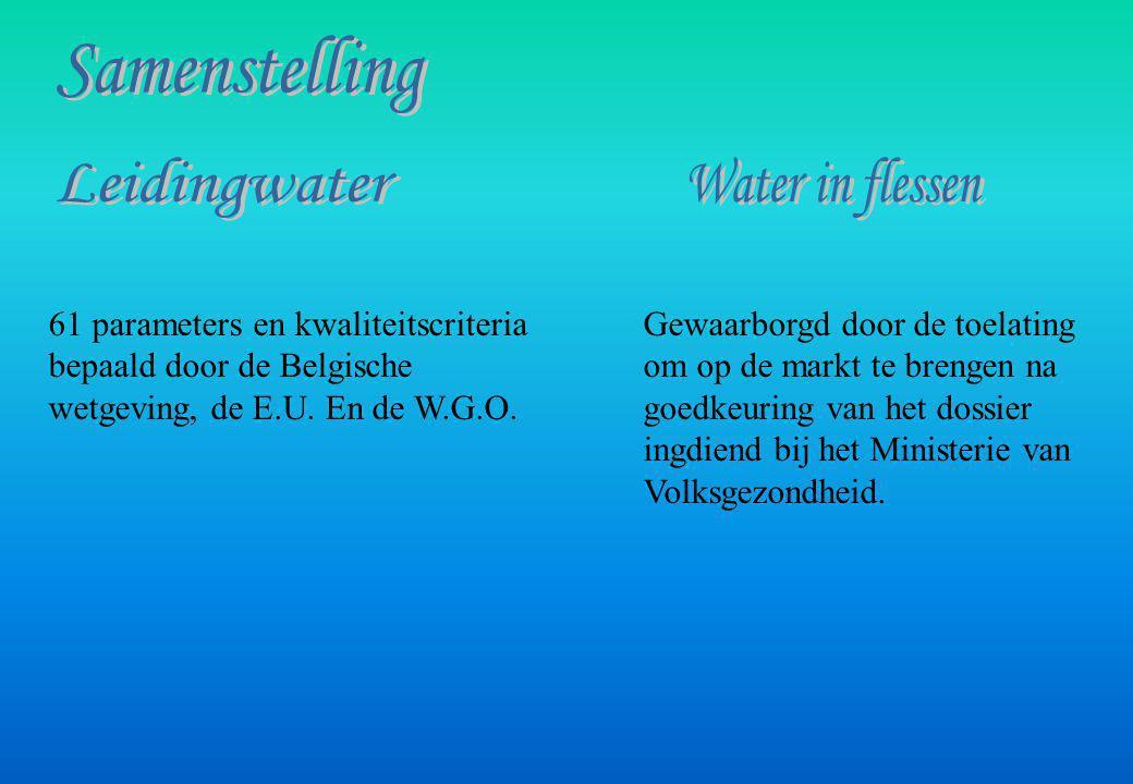 Oppervlaktewater: Vaak vervuild, moet dus behandeld worden Grondwater: Beter beschermd dus zuiverder behalve bij vervuiling van de watervoerende laag Tafelwater: Leidingwater in flessen Bronwater: Grondwater, beschermd tegen vervuiling.