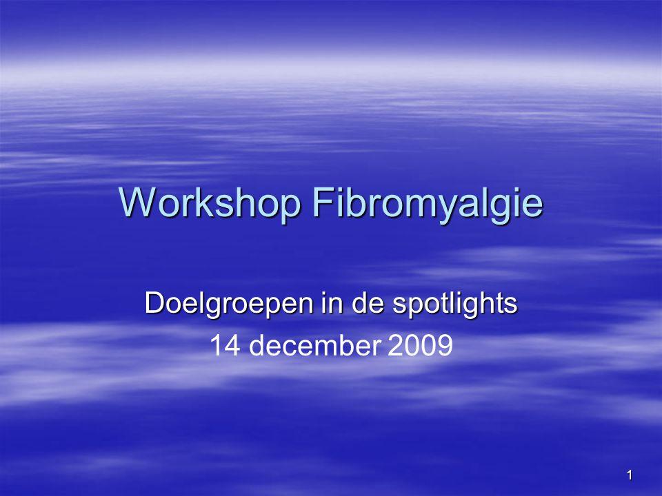 1 Workshop Fibromyalgie Doelgroepen in de spotlights 14 december 2009