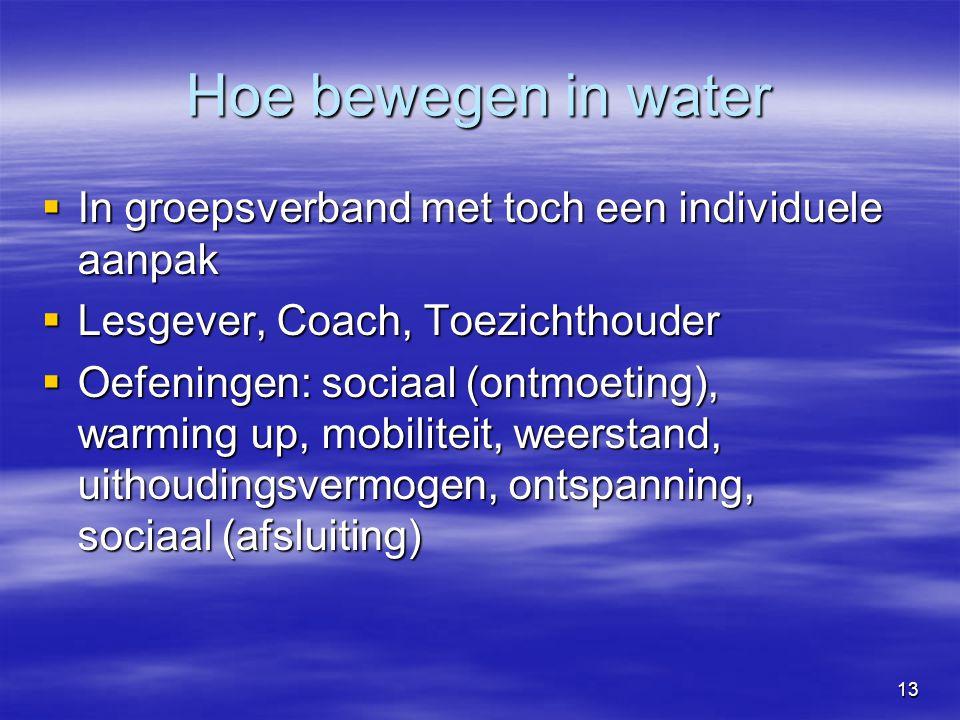 13  In groepsverband met toch een individuele aanpak  Lesgever, Coach, Toezichthouder  Oefeningen: sociaal (ontmoeting), warming up, mobiliteit, weerstand, uithoudingsvermogen, ontspanning, sociaal (afsluiting) Hoe bewegen in water