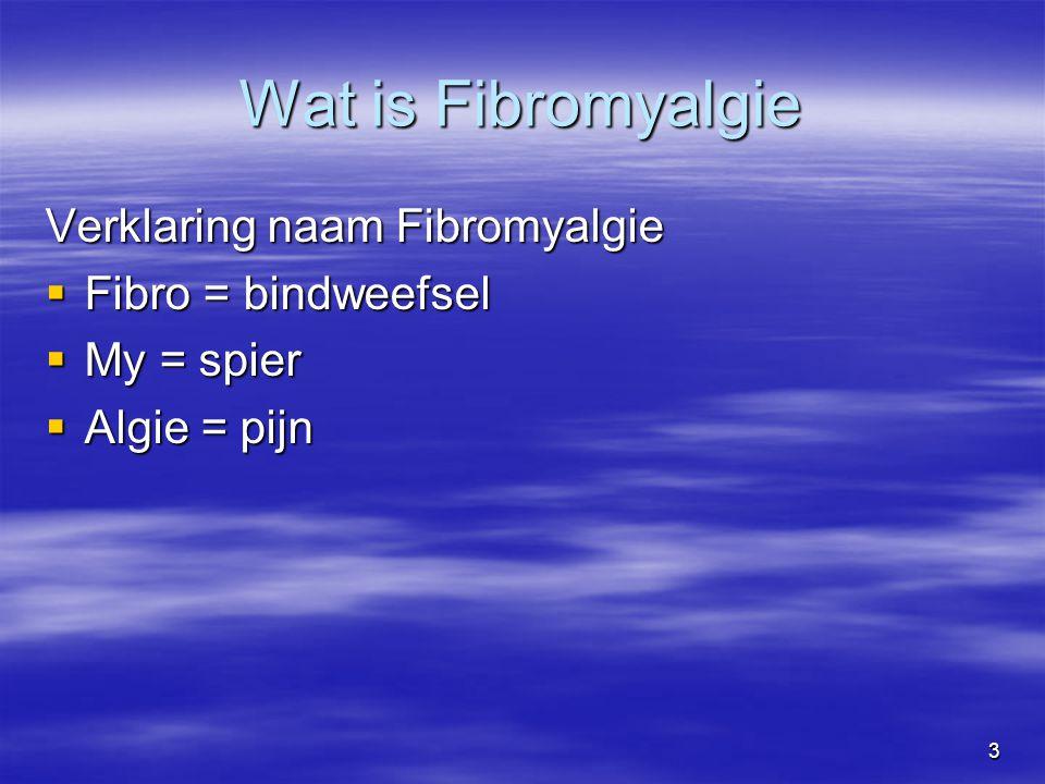 3 Wat is Fibromyalgie Verklaring naam Fibromyalgie  Fibro = bindweefsel  My = spier  Algie = pijn