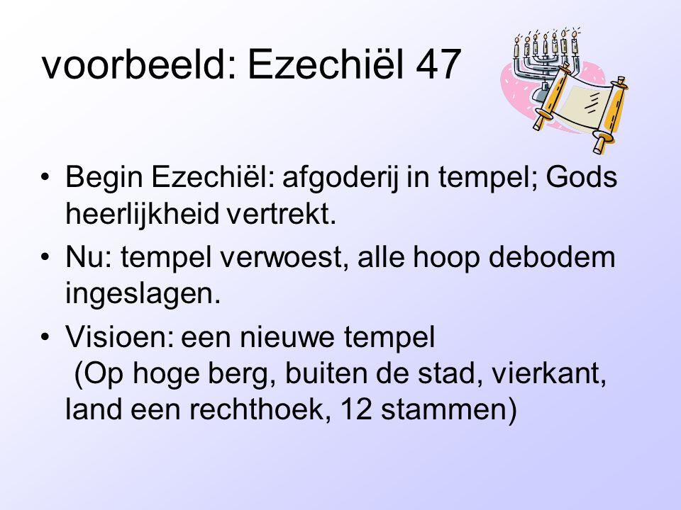 voorbeeld: Ezechiël 47 Begin Ezechiël: afgoderij in tempel; Gods heerlijkheid vertrekt. Nu: tempel verwoest, alle hoop debodem ingeslagen. Visioen: ee