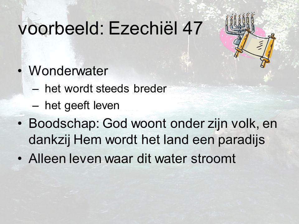 voorbeeld: Ezechiël 47 Wonderwater – het wordt steeds breder – het geeft leven Boodschap: God woont onder zijn volk, en dankzij Hem wordt het land een