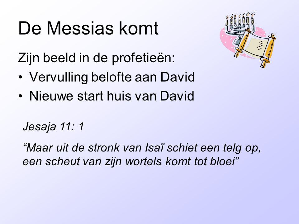 """De Messias komt Zijn beeld in de profetieën: Vervulling belofte aan David Nieuwe start huis van David Jesaja 11: 1 """"Maar uit de stronk van Isaï schiet"""