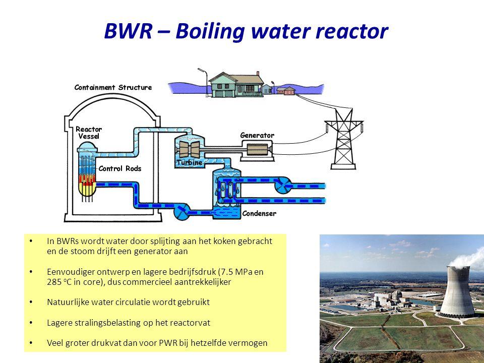 BWR – Boiling water reactor Najaar 2007Jo van den Brand16 In BWRs wordt water door splijting aan het koken gebracht en de stoom drijft een generator a