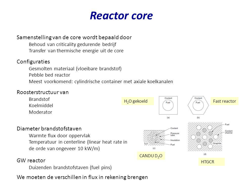 Reactor core Samenstelling van de core wordt bepaald door Behoud van criticality gedurende bedrijf Transfer van thermische energie uit de core Configu
