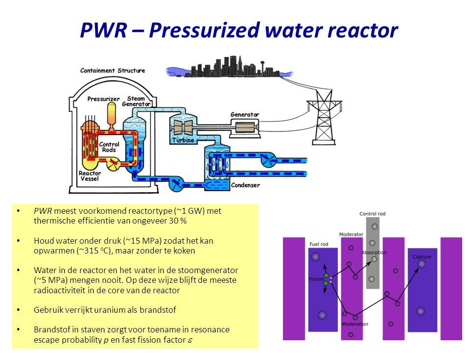PWR – Pressurized water reactor Najaar 2007Jo van den Brand 8 PWR meest voorkomend reactortype (~1 GW) met thermische efficientie van ongeveer 30 % Houd water onder druk (~15 MPa) zodat het kan opwarmen (~315 o C), maar zonder te koken Water in de reactor en het water in de stoomgenerator (~5 MPa) mengen nooit.