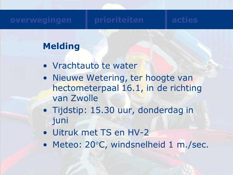 Melding Vrachtauto te water Nieuwe Wetering, ter hoogte van hectometerpaal 16.1, in de richting van Zwolle Tijdstip: 15.30 uur, donderdag in juni Uitr