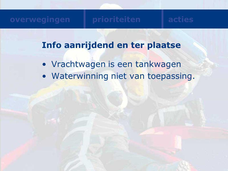 Info aanrijdend en ter plaatse Vrachtwagen is een tankwagen Waterwinning niet van toepassing. overwegingenprioriteitenacties