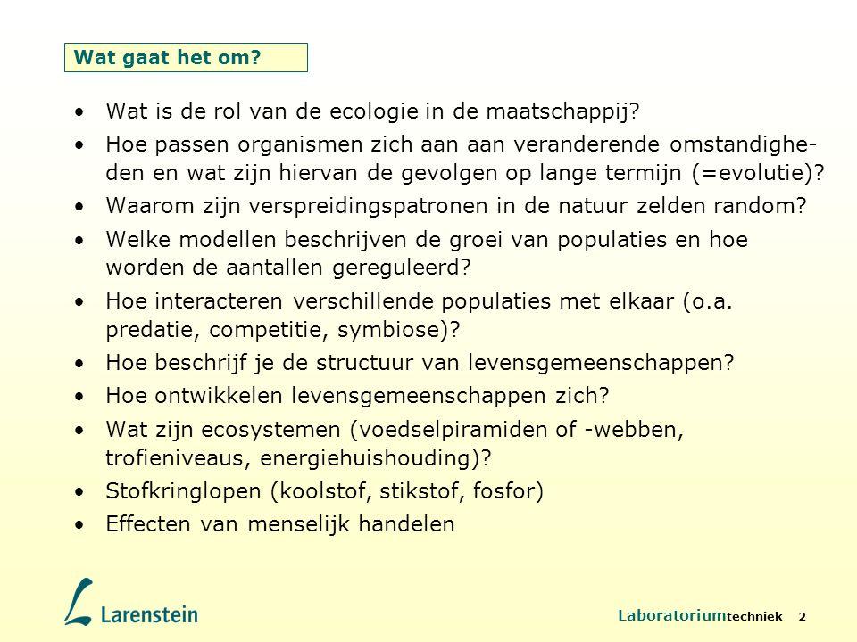 Laboratorium techniek 2 Wat gaat het om? Wat is de rol van de ecologie in de maatschappij? Hoe passen organismen zich aan aan veranderende omstandighe