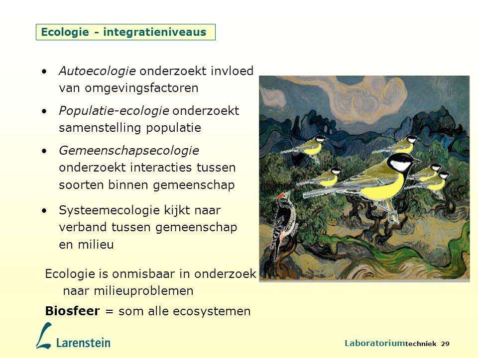 Laboratorium techniek 29 Ecologie - integratieniveaus Gemeenschapsecologie onderzoekt interacties tussen soorten binnen gemeenschap Populatie-ecologie