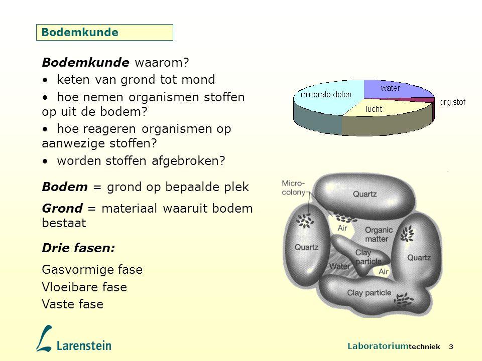 Laboratorium techniek 3 Bodemkunde Bodem = grond op bepaalde plek Grond = materiaal waaruit bodem bestaat Drie fasen: Gasvormige fase Vloeibare fase V