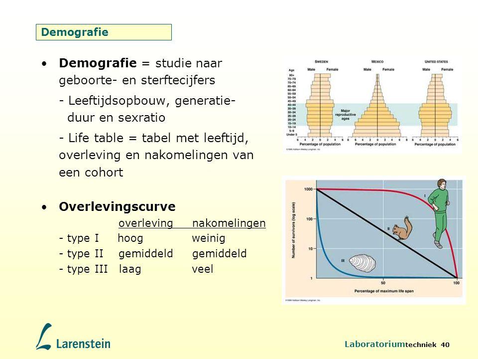 Laboratorium techniek 40 Demografie Demografie = studie naar geboorte- en sterftecijfers - Leeftijdsopbouw, generatie- duur en sexratio - Life table =