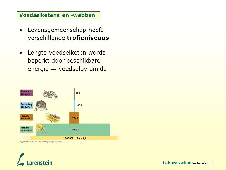 Laboratorium techniek 55 Voedselketens en -webben Levensgemeenschap heeft verschillende trofieniveaus Lengte voedselketen wordt beperkt door beschikba