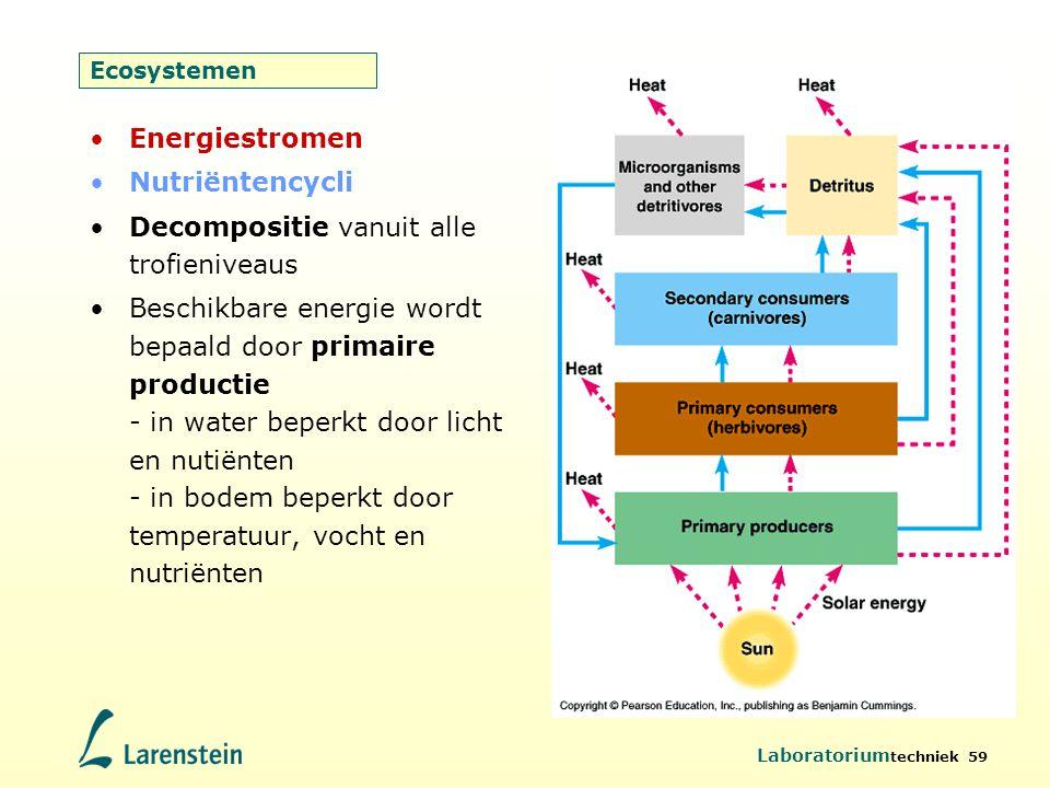 Laboratorium techniek 59 Ecosystemen Energiestromen Nutriëntencycli Decompositie vanuit alle trofieniveaus Beschikbare energie wordt bepaald door prim