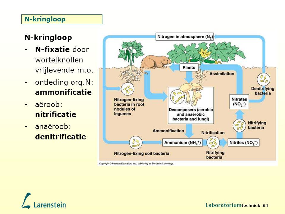 Laboratorium techniek 64 N-kringloop -N-fixatie door wortelknollen vrijlevende m.o. -ontleding org.N: ammonificatie -aëroob: nitrificatie -anaëroob: d