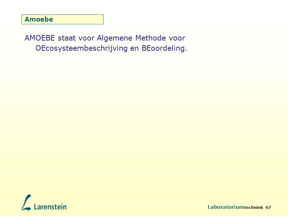 Laboratorium techniek 67 AMOEBE staat voor Algemene Methode voor OEcosysteembeschrijving en BEoordeling. Amoebe