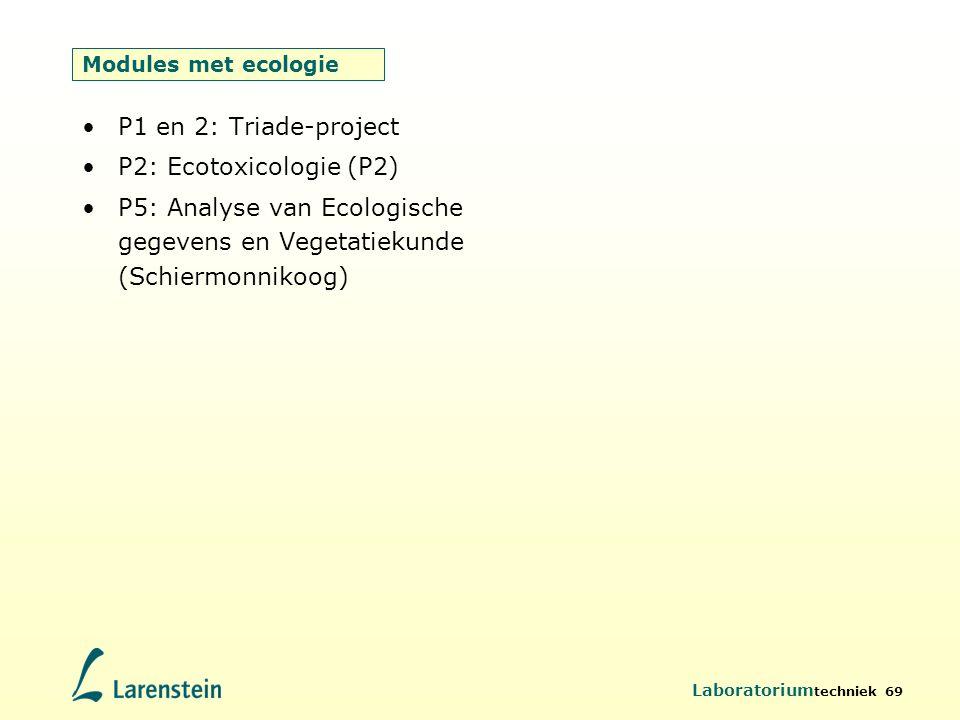 Laboratorium techniek 69 Modules met ecologie P1 en 2: Triade-project P2: Ecotoxicologie (P2) P5: Analyse van Ecologische gegevens en Vegetatiekunde (