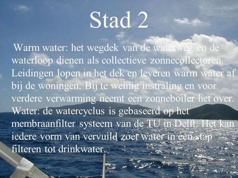 Stad 2 Warm water: het wegdek van de waterweg en de waterloop dienen als collectieve zonnecollectoren. Leidingen lopen in het dek en leveren warm wate