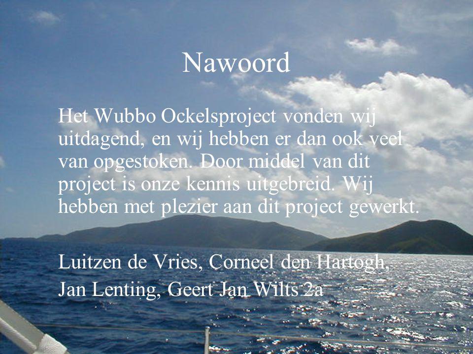 Nawoord Het Wubbo Ockelsproject vonden wij uitdagend, en wij hebben er dan ook veel van opgestoken.