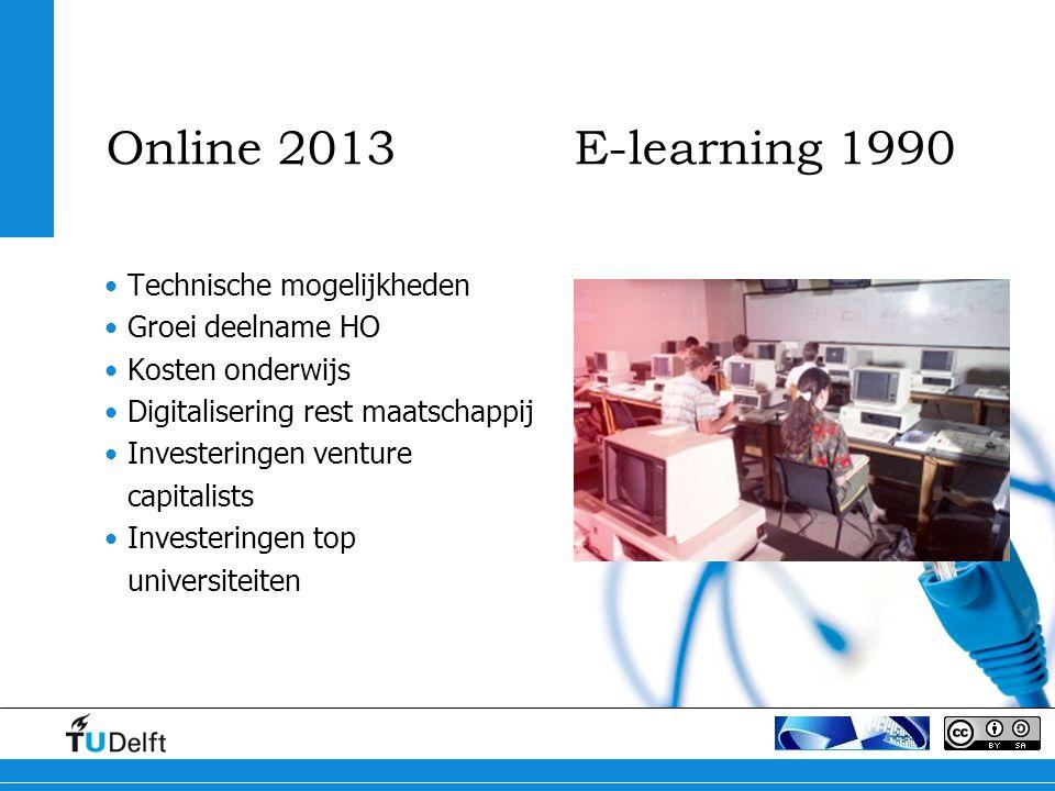 Online 2013 E-learning 1990 Technische mogelijkheden Groei deelname HO Kosten onderwijs Digitalisering rest maatschappij Investeringen venture capitalists Investeringen top universiteiten
