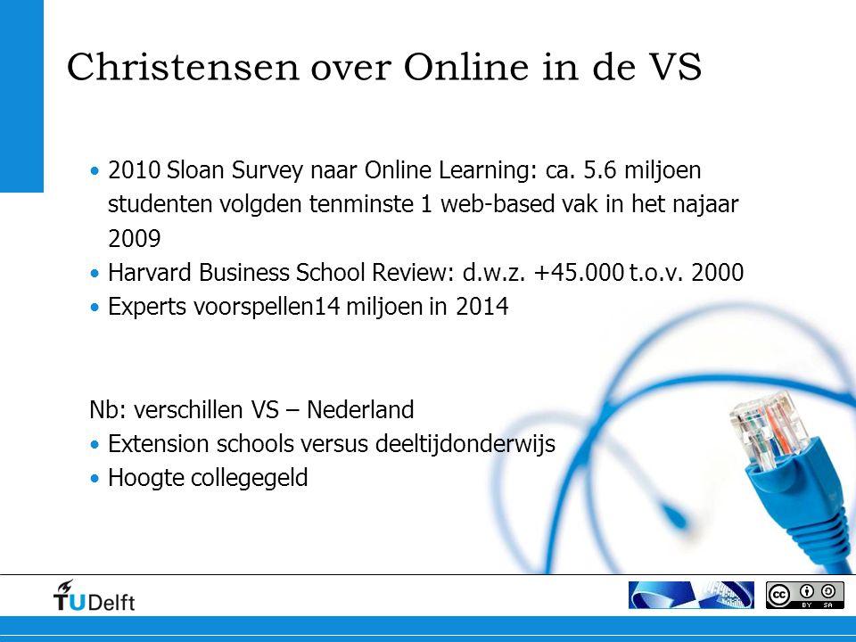 2010 Sloan Survey naar Online Learning: ca. 5.6 miljoen studenten volgden tenminste 1 web-based vak in het najaar 2009 Harvard Business School Review: