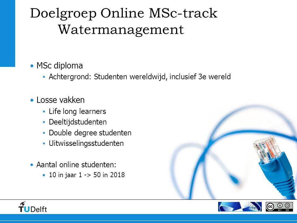 Doelgroep Online MSc-track Watermanagement MSc diploma Achtergrond: Studenten wereldwijd, inclusief 3e wereld Losse vakken Life long learners Deeltijdstudenten Double degree studenten Uitwisselingsstudenten Aantal online studenten: 10 in jaar 1 -> 50 in 2018