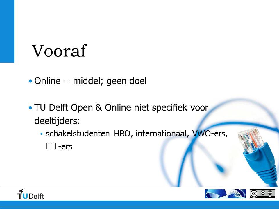 Online = middel; geen doel TU Delft Open & Online niet specifiek voor deeltijders: schakelstudenten HBO, internationaal, VWO-ers, LLL-ers Vooraf