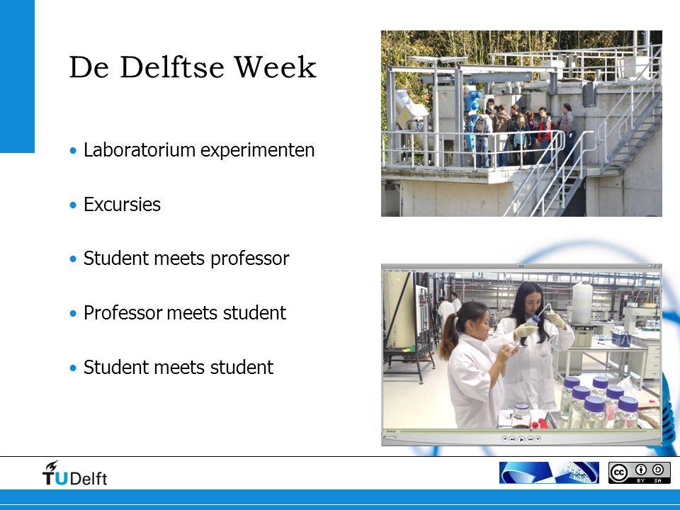 De Delftse Week Laboratorium experimenten Excursies Student meets professor Professor meets student Student meets student