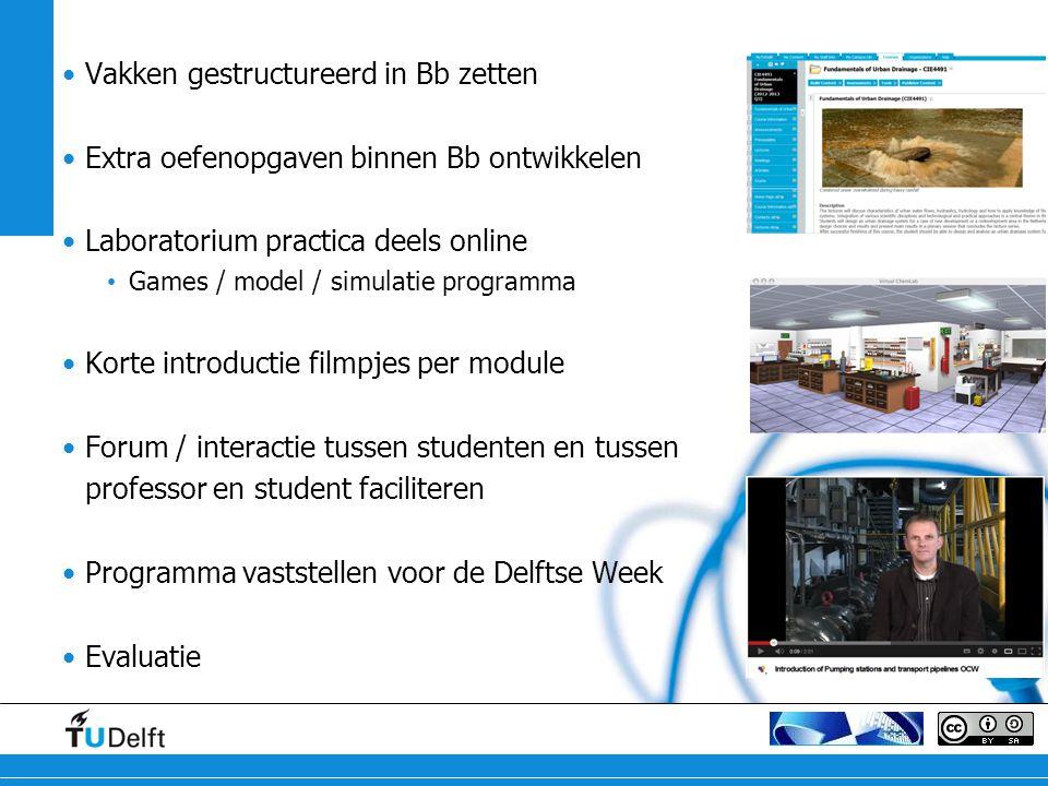 Vakken gestructureerd in Bb zetten Extra oefenopgaven binnen Bb ontwikkelen Laboratorium practica deels online Games / model / simulatie programma Kor
