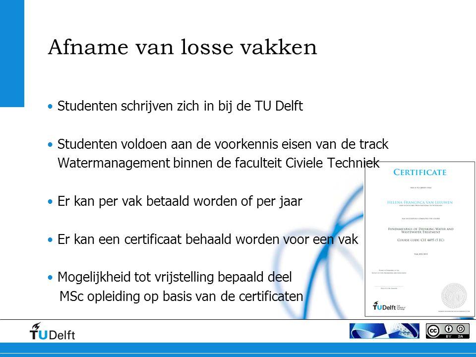 Afname van losse vakken Studenten schrijven zich in bij de TU Delft Studenten voldoen aan de voorkennis eisen van de track Watermanagement binnen de f