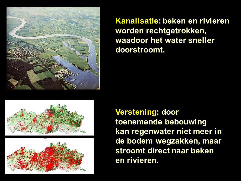 Kanalisatie: beken en rivieren worden rechtgetrokken, waadoor het water sneller doorstroomt. Verstening: door toenemende bebouwing kan regenwater niet