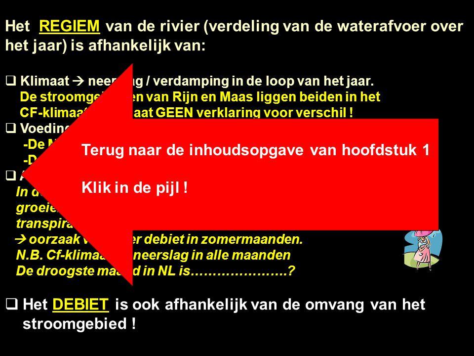 Het REGIEM van de rivier (verdeling van de waterafvoer over het jaar) is afhankelijk van:  Klimaat  neerslag / verdamping in de loop van het jaar. D