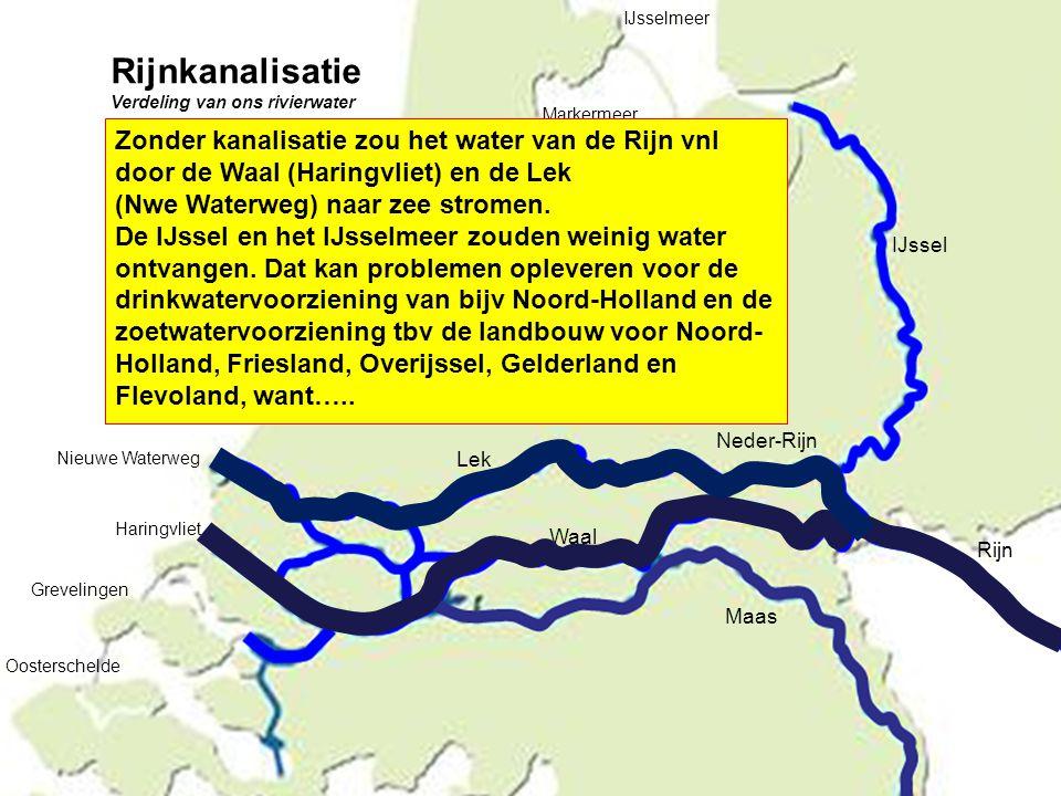 IJssel Rijn Maas Neder-Rijn Lek Waal Nieuwe Waterweg Haringvliet Grevelingen Oosterschelde IJsselmeer Markermeer Zonder kanalisatie zou het water van
