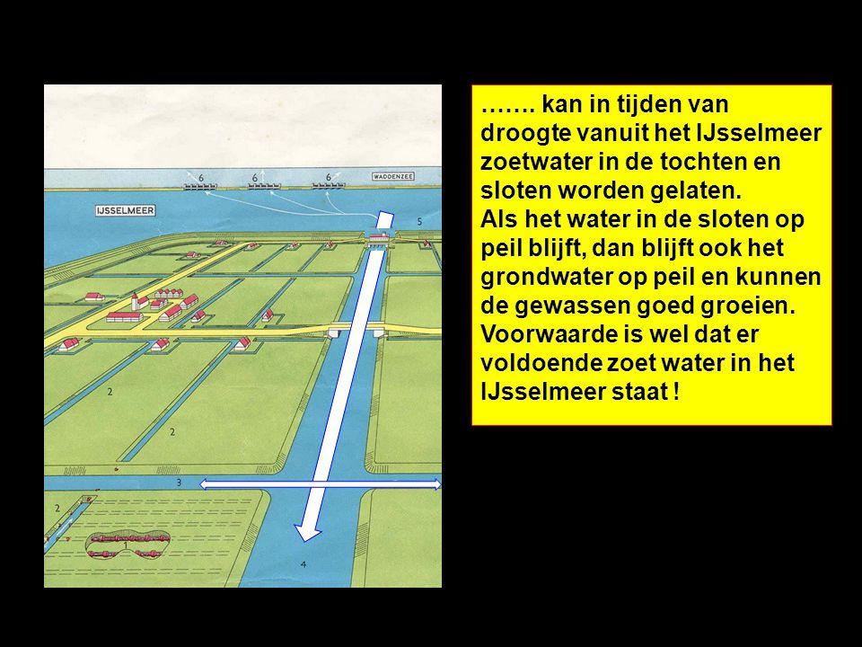 ……. kan in tijden van droogte vanuit het IJsselmeer zoetwater in de tochten en sloten worden gelaten. Als het water in de sloten op peil blijft, dan b