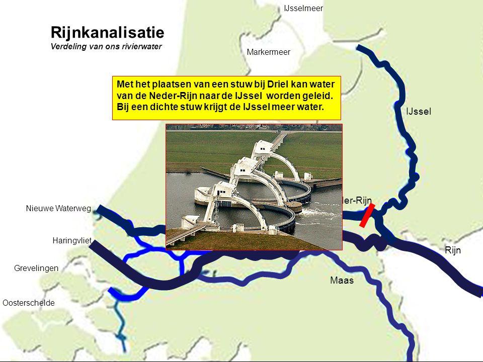 IJssel Rijn Maas Neder-Rijn Lek Waal Nieuwe Waterweg Haringvliet Grevelingen Oosterschelde IJsselmeer Markermeer Met het plaatsen van een stuw bij Dri