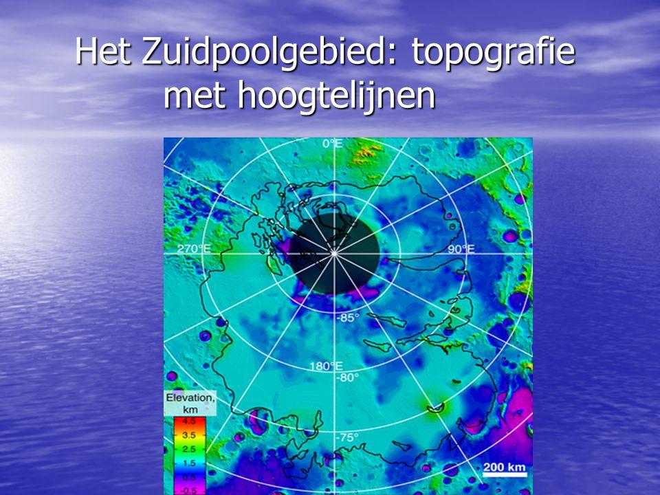 Het Zuidpoolgebied: topografie met hoogtelijnen Het Zuidpoolgebied: topografie met hoogtelijnen