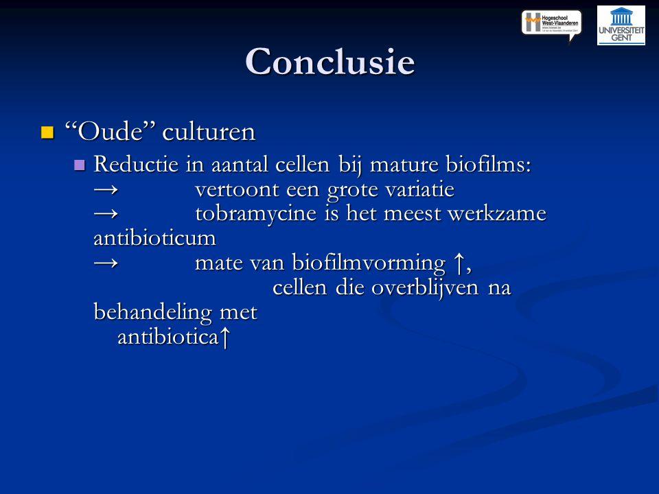 """Conclusie """"Oude"""" culturen """"Oude"""" culturen Reductie in aantal cellen bij mature biofilms: →vertoont een grote variatie →tobramycine is het meest werkza"""