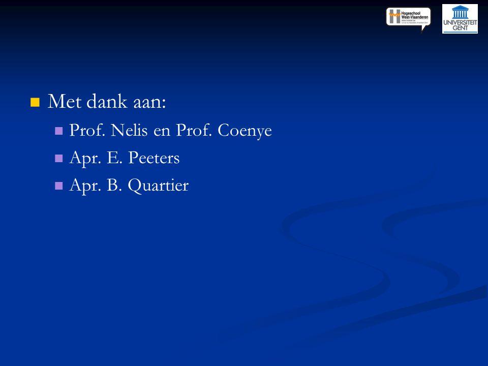 Met dank aan: Prof. Nelis en Prof. Coenye Apr. E. Peeters Apr. B. Quartier