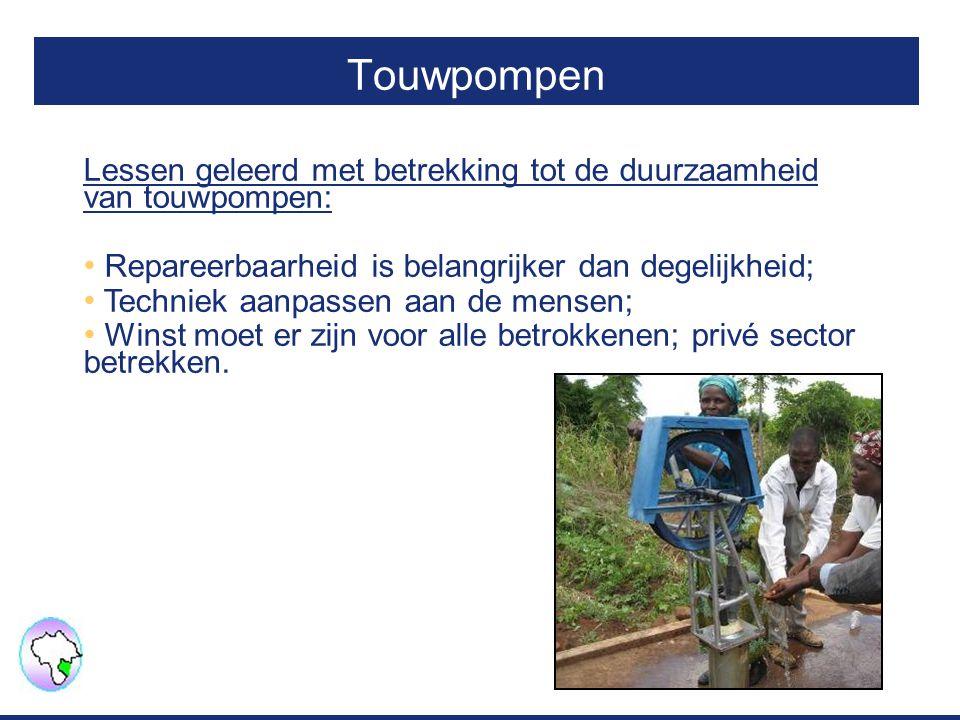 Touwpompen Lessen geleerd met betrekking tot de duurzaamheid van touwpompen: Repareerbaarheid is belangrijker dan degelijkheid; Techniek aanpassen aan
