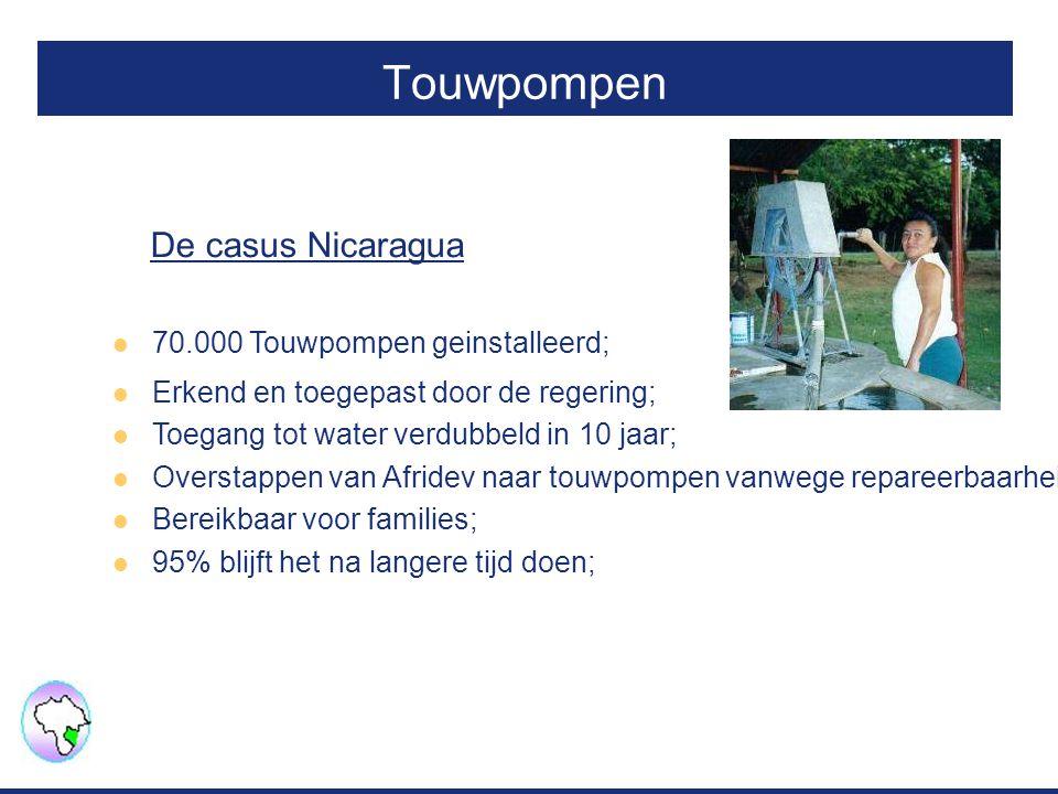 Touwpompen 70.000 Touwpompen geinstalleerd; Erkend en toegepast door de regering; Toegang tot water verdubbeld in 10 jaar; Overstappen van Afridev naa