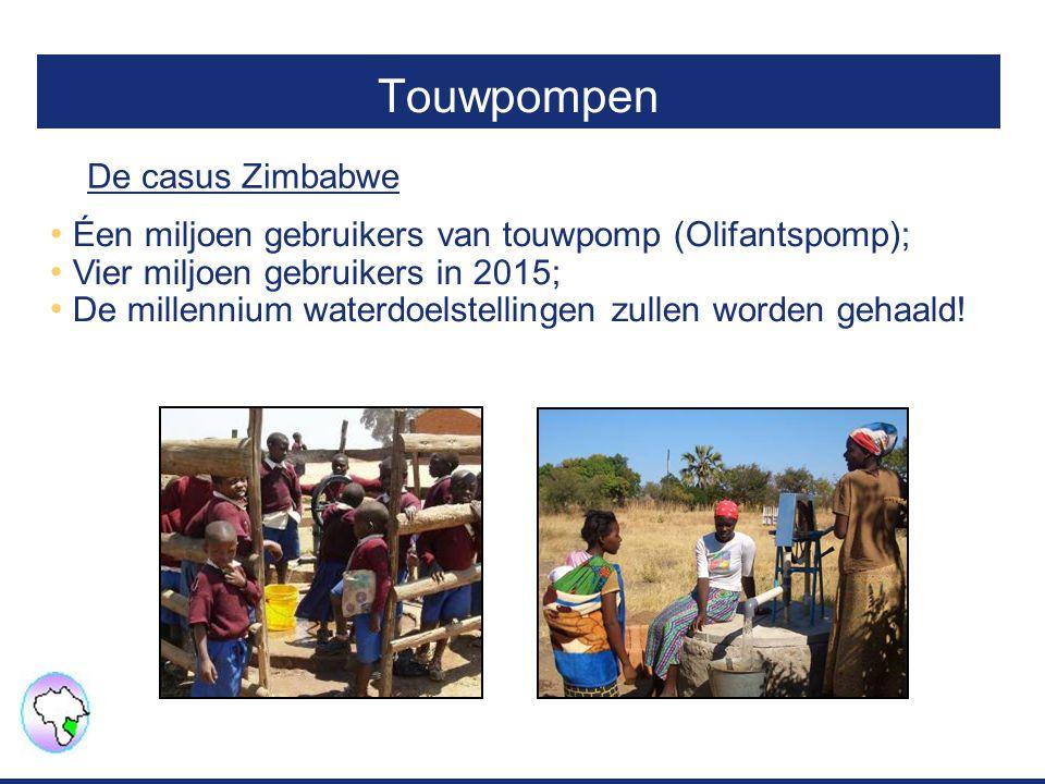 Touwpompen Éen miljoen gebruikers van touwpomp (Olifantspomp); Vier miljoen gebruikers in 2015; De millennium waterdoelstellingen zullen worden gehaald.