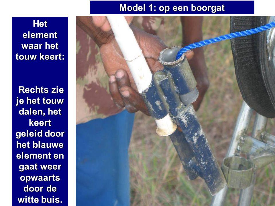 Het element waar het touw keert: Rechts zie je het touw dalen, het keert geleid door het blauwe element en gaat weer opwaarts door de witte buis. Rech