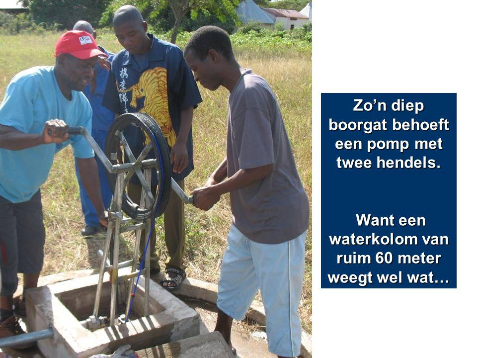 Zo'n diep boorgat behoeft een pomp met twee hendels. Want een waterkolom van ruim 60 meter weegt wel wat… Want een waterkolom van ruim 60 meter weegt