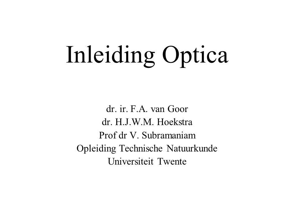 Inleiding Optica dr.ir. F.A. van Goor dr. H.J.W.M.