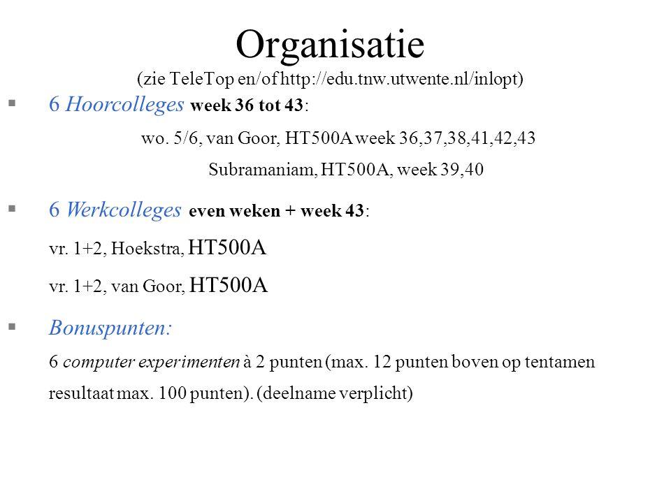 Organisatie (zie TeleTop en/of http://edu.tnw.utwente.nl/inlopt) §6 Hoorcolleges week 36 tot 43: wo.