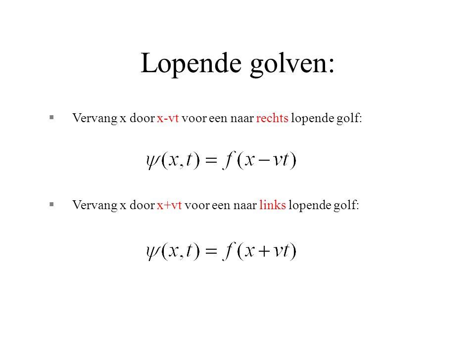 Lopende golven: §Vervang x door x-vt voor een naar rechts lopende golf: §Vervang x door x+vt voor een naar links lopende golf: