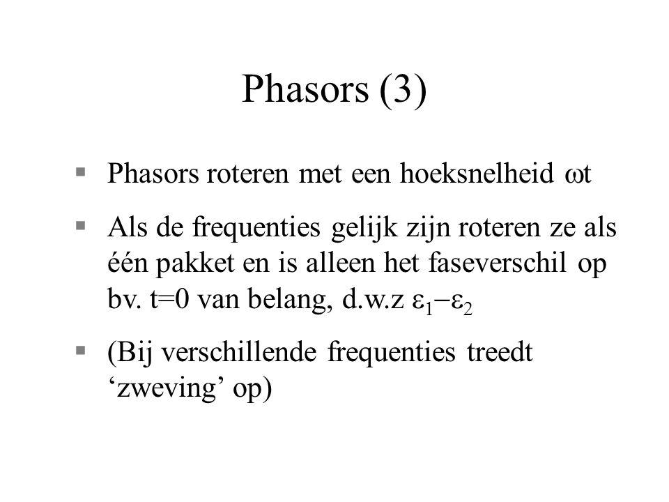 Phasors (3)  Phasors roteren met een hoeksnelheid  t  Als de frequenties gelijk zijn roteren ze als één pakket en is alleen het faseverschil op bv.