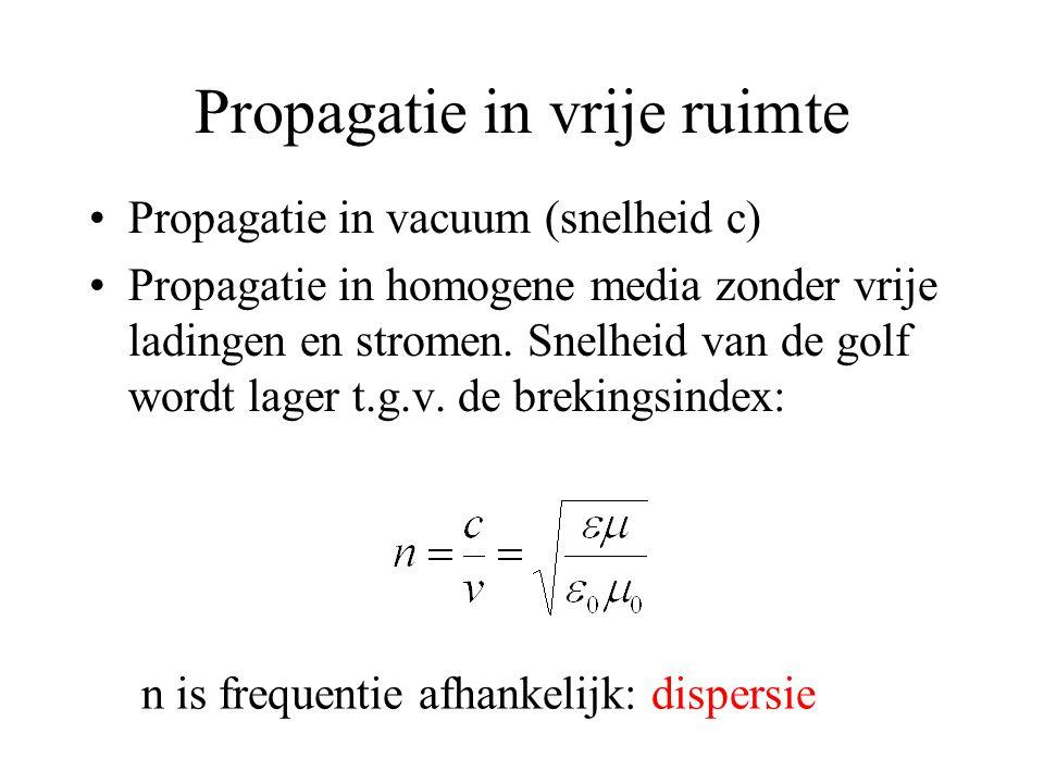 Propagatie in vrije ruimte Propagatie in vacuum (snelheid c) Propagatie in homogene media zonder vrije ladingen en stromen.