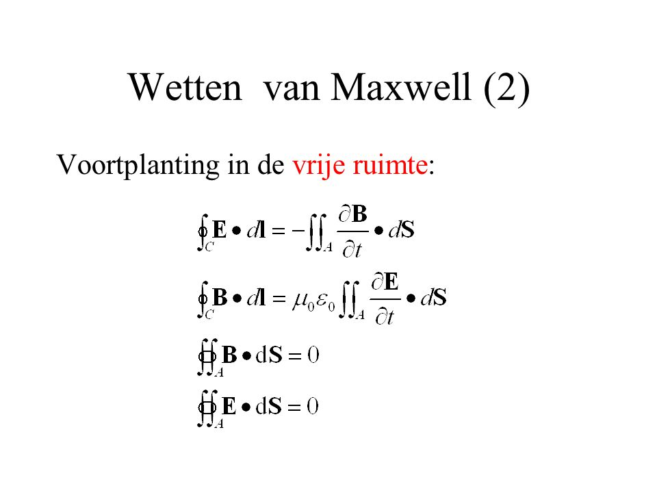 Wetten van Maxwell (2) Voortplanting in de vrije ruimte: